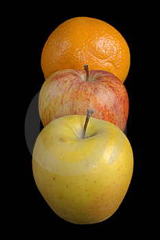 Two Apples And An Orange In Line Stock Images