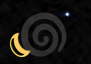 Christmas Star Crescent Moon Royalty Free Stock Photos