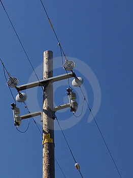 Power pole and lines Stock Images