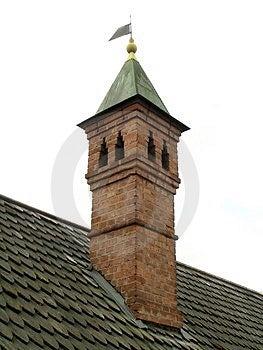 Brick Chimney And Shingle Roof Free Stock Photography