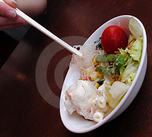 Salad And Chopsticks Free Stock Photo