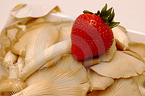 Strawberry And Mushroom Stock Photography