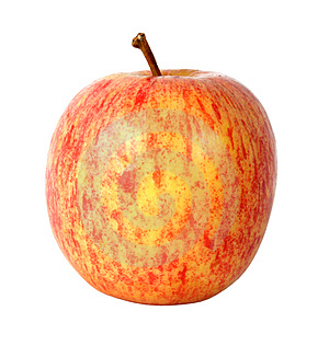 Apple In Red Over White Free Stock Image
