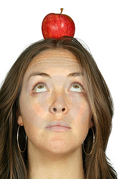 Beautiful Girl With An Apple On Her Head Free Stock Photos