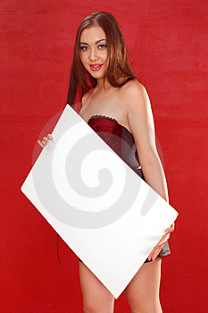 Girl with sign board Stock Photo