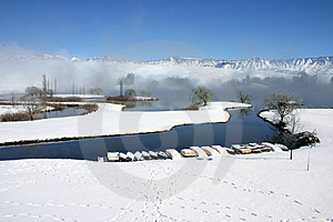 Landscape Of Snow And Lake Free Stock Photos