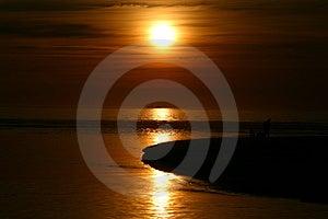 Costa oeste do por do sol Foto de Stock