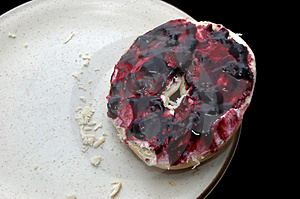 Breakfast Bagel & Jelly Stock Image