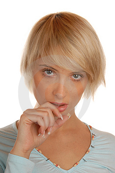 Shame Face Of Attractive Blond Girl Royalty Free Stock Photography - Image: 1805857