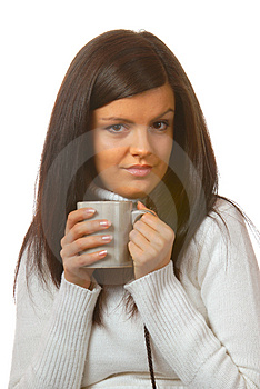 Attractive Brunette With Teacup Stock Photos - Image: 1805893