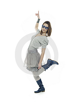 Cool Girl Pointing Up Royalty Free Stock Image - Image: 18002136
