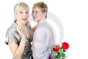 Couple With Gift And Flower Stock Photo - Image: 18002620