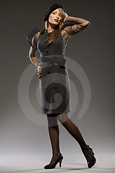 Elegant Fashionable Woman In A Hat Stock Image - Image: 18006761