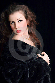Beautiful Young Woman In Black Fur Stock Photography - Image: 18008322