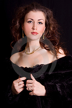 Beautiful Young Woman In A Black Fur Stock Images - Image: 18008334