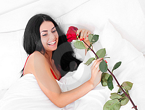 Woman With A Rose Stock Photos - Image: 18010403