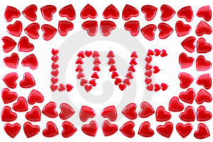 Word Love In A Framework From Red Hearts Stock Photos - Image: 18011443