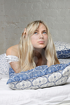 Beautiful Blond Woman Dreams Royalty Free Stock Photos - Image: 18011748