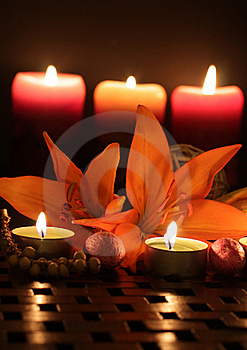 Lilies By Candlelight. Royalty Free Stock Photos - Image: 18011978