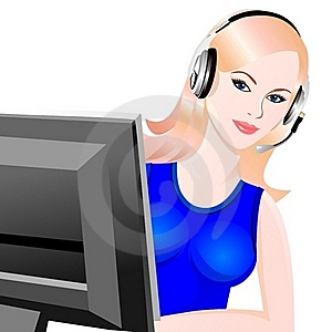 Vector Young Beautiful Girl Telephone Operator Royalty Free Stock Images - Image: 18012949