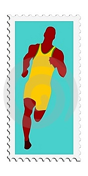 Athletics. Vector Stamp Stock Photography - Image: 18012952