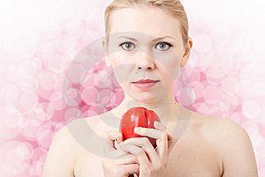 Woman With Red Pepper Royalty Free Stock Photos - Image: 18013898