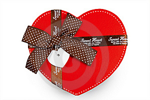 Gift Box As Heart With Ribbon Isolated Stock Photo - Image: 18013900