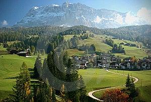 Italian Alps Mountain And Village Scene Stock Photos - Image: 18014003