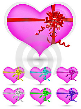 Heart With Color Ribbon Stock Photography - Image: 18014322