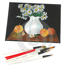 Picture Acrilic  Paints On A Canvas And Brushes Royalty Free Stock Images - Image: 18014749