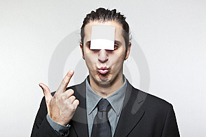 Young Man With Blank Note On The Face Stock Image - Image: 18020461