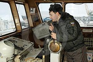 Russian  Militiaman Is On Captain's Bridge Stock Images - Image: 18022914