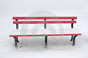 Bench In The Snow Stock Photo - Image: 18023060