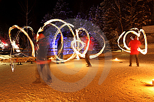 Fire Show At Night Royalty Free Stock Image - Image: 18026006