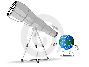 Earth Looks Through A Telescope Royalty Free Stock Images - Image: 18027079