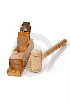 Old Wooden Planer And Mallet Royalty Free Stock Photos - Image: 18028058