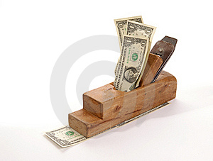 Work And Earn. Old Wood The Planer And Banknotes Stock Photo - Image: 18028140
