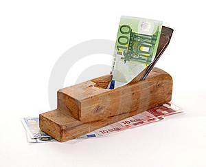 Work And Earn. Old Wood The Planer And Banknotes Stock Images - Image: 18028154