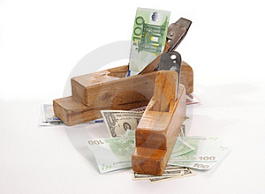Work And Earn. Old Wood The Planer And Banknotes Stock Photos - Image: 18028163