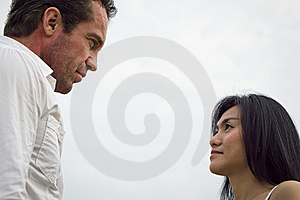Man Look At Woman Look Seriously Stock Images - Image: 18028464