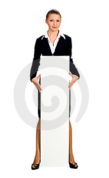 Businesswoman Giving Big Card. Isolated On White Stock Photos - Image: 18031743