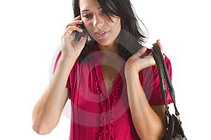 Young Career Woman Talking On A Cellphone Royalty Free Stock Photography - Image: 18038337