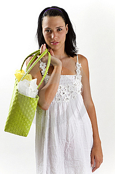 Woman In White Summer Dress With Shopping Bag Stock Image - Image: 18038391