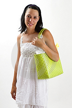 Woman In White Summer Dress With Shopping Bag Royalty Free Stock Image - Image: 18038436