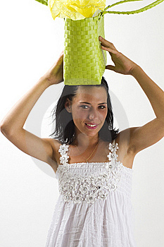 Woman In White Summer Dress With Shopping Bag Stock Photo - Image: 18038460