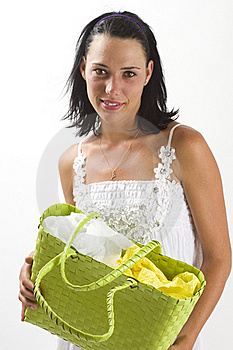 Smiling Woman Holding A Shopping Bag Stock Photography - Image: 18038522