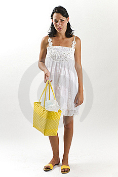 Woman In White Summer Dress With Shopping Bag Stock Photo - Image: 18038590