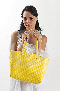 Woman In White Summer Dress With Shopping Bag Royalty Free Stock Photography - Image: 18038597