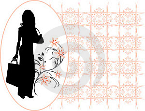 Silhouette Elegant Woman In The Decorative Frame Royalty Free Stock Photography - Image: 18038937