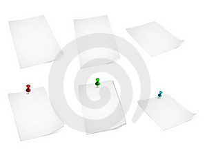 Paper And Push Pins Royalty Free Stock Images - Image: 18043539
